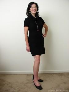 Black sweater dress and heals